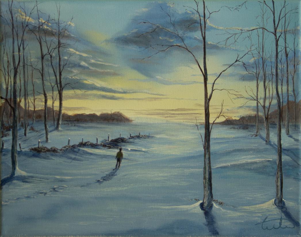 Winter Journey Acrylic Painting