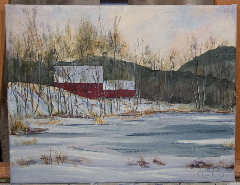 "Finished ""fun"" painting of a winter barn over marsh."